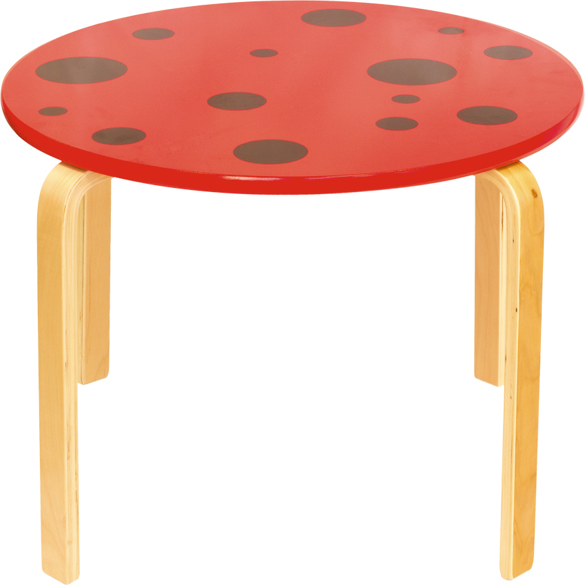 Kindermöbel holz  Kindertisch aus Holz Marienkäfermuster - TABLE ROUGE - Kindermöbel ...