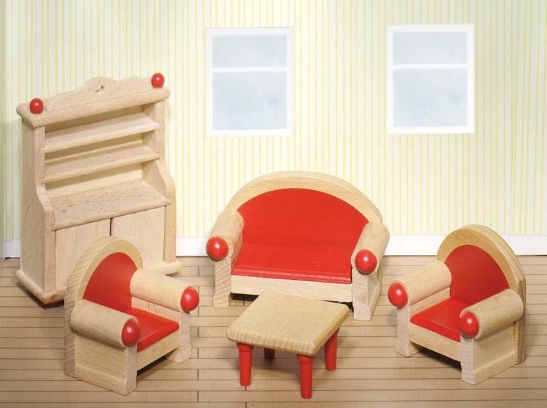 goki 51952 wohnzimmer holz puppenhaus m bel. Black Bedroom Furniture Sets. Home Design Ideas