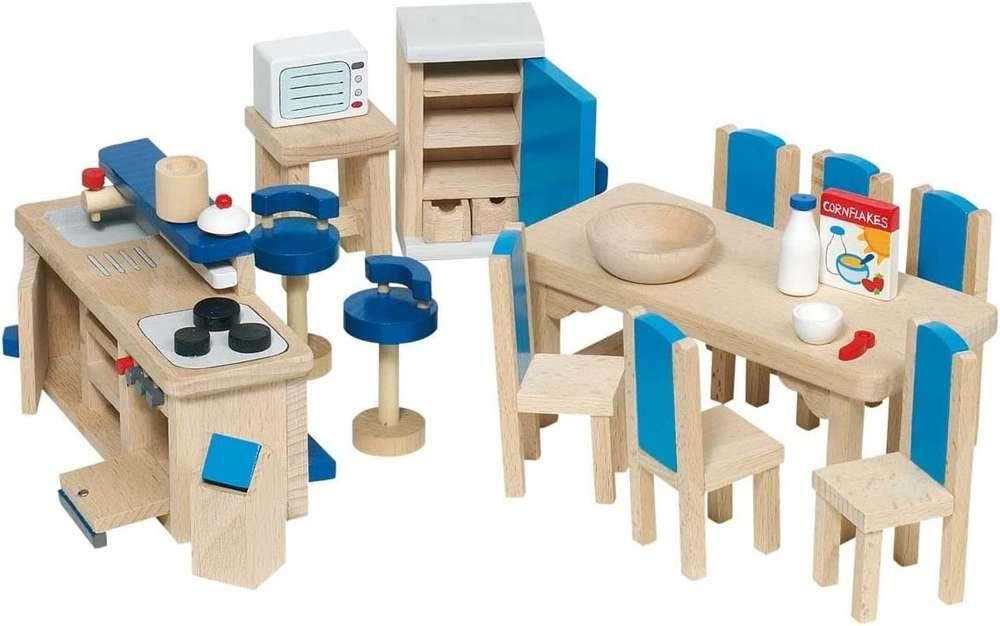goki 51907 Küche / Eßzimmer Holz Puppenhaus Möbel