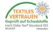 Textiles Vertrauen - geprüft auf Schadstoffe nach Oeko-Tex Standard 100 - Prüfnr. 99.0.6727 Hohenstein